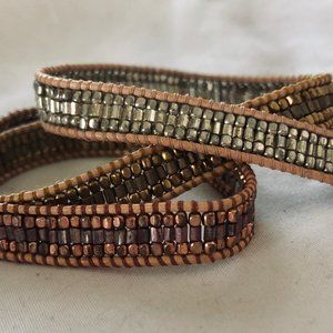 Jewelry - Nakamol Boho leather and bead wrap bracelet
